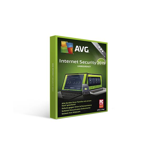 AVG Internet Security 2019 1y3pc Retail Box