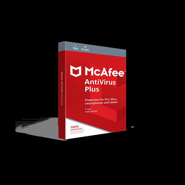 McAfee AntiVirus Plus 2019 (1YR, 10 PC/Mac) Download